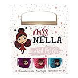 Esmalte de uñas Miss Nella con purpurina especial para niños, paquete de 3: Sugar Hugs, Jazzberry Jam & Under The Sea, fórmula a base de agua