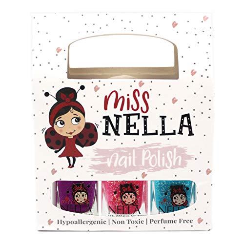 Miss NELLA Winterglitzer spezial Kinder- Nagellack Dreierpack: Zucker Umarmungen, Jazzbery Jam & Under the Sea, abziehbare, wasserbasierte Formel