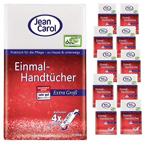 Jean Carol Einmal-Handtücher, extra groß, Vorteilspack (11 x 17 Stück), ideal für die tägliche Pflege