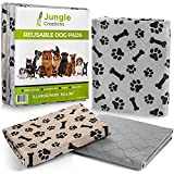 """JUNGLE CREATIONS Washable Pee Pads for Dogs (3-Pack) 30"""" x 36"""" Reusable Waterproof Potty Training Mats for Puppy Playpen, Whelping Box, Crate Liner for Small, Medium, Large, and XL Pets"""