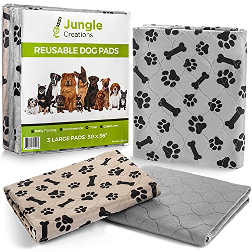 JUNGLE CREATIONS Washable Pee Pads for Dogs (3-Pack) 30