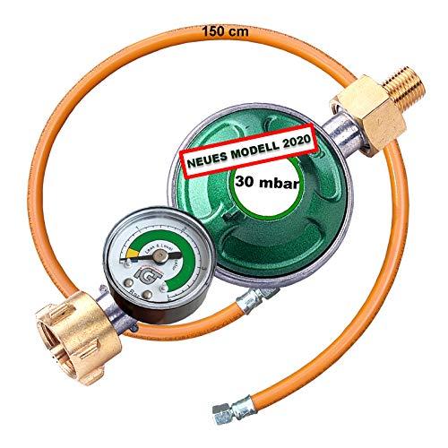 CAGO Gasregler 30 mbar mit Manometer Gas Füllstandsanzeige Schlauchbruchsicherung Druckminderer Gasschlauch 150cm Camping Druckregler Butan