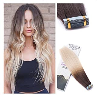 Rinboool Skin Weft Glue In Hair Extensions Remy Human Hair, Ombre Color Medium Brown Fading To Bleach Blonde, Double Sided Invisible Seamless Tape Ins, 14'' 40g 20 pcs, 4/613