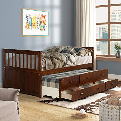 Danxee Wood Bed Captain's Bed with Trundle Bed and Storage Drawers review