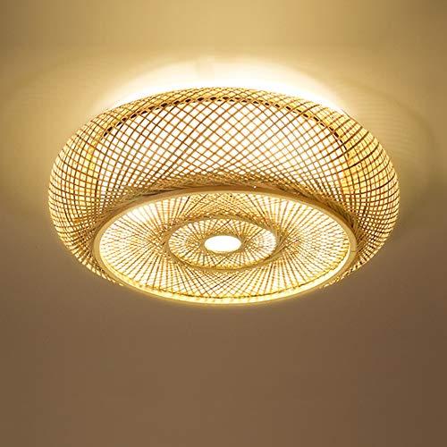 Shfmx Lámpara de Techo de Madera Maciza nórdica, balcón, lámpara de ratán Hecha a Mano Linterna lámpara de Techo de Estilo Retro salón lámpara de Techo de Oficina