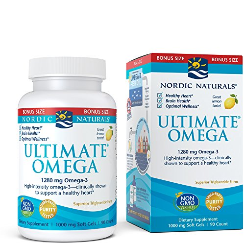Nordic Naturals Ultimate Omega  Lemon Flavor - 1280 mg Omega-3-90 Soft Gels - High-Potency Omega-3 Fish Oil Supplement with EPA & DHA - Promotes Brain & Heart Health - Non-GMO - 45 Servings