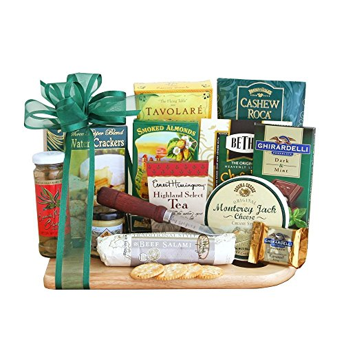 Cutting Board of Savory Treats Meat and Cheese Gift Set - Deluxe | Office Gift Idea