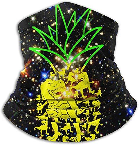Unisex Piña Dinosaurio Amante Invierno Fleece Cuello Calentador Polainas Banda para el cabello Tubo para clima frío Mascarilla Térmica Cuello Bufanda Al aire libre Protección UV Cubierta del partido Negro