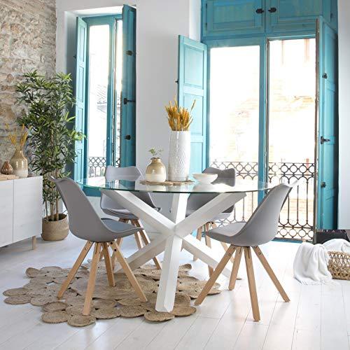 Carot Base Table Blanc (Cristal Non Inclus) - Bois - 112x112x72 cm - Couleur Blanc Winter
