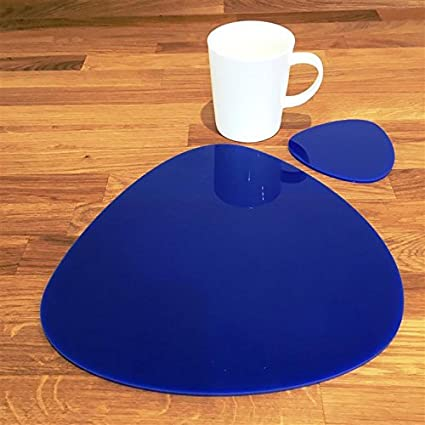 Pebble Shaped Placemat and Coaster Set Blue