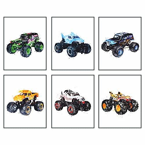 Monster Truck Posters For Boys Room - Set Of 9 Wall Art (UNFRAMED 8'x10') Monster Truck Theme Art Painting Watercolor Poster