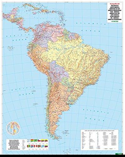 Südamerika Politisch, 1:8 Mio., Poster, metallbestäbt (freytag & berndt Poster + Markiertafeln)