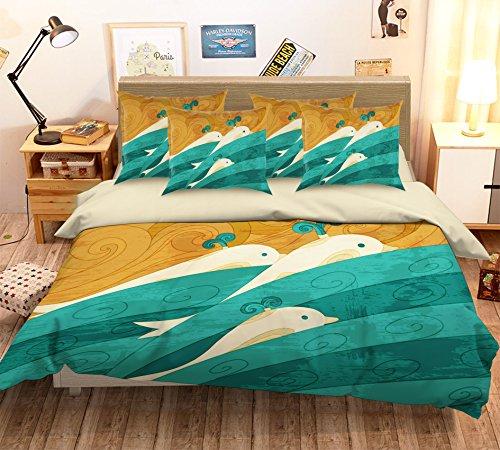 3d Bleu mer Dauphin Peinture 163 Parure de lit Taie d'oreiller Parure de lit avec housse de couette simple Queen King | 3d Photo Parure de lit, AJ papier peint britannique Sept