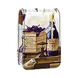 qfkj Estuche de lápiz Labial portátil con Tapa,Bodegón de Botellas de Vino y Uvas.