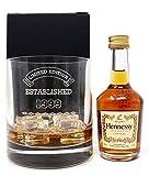 Personalised Premium Tumbler & Miniature Cognac - Established Birthday Design (Hennessy VS Cognac, Cardboard Gift Box)
