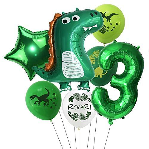 Haosell Großes Dinosaurier Luftballon 3 Jahr Kindergeburtstag Deko Jungen Grüner Dinosaurier Ballon - 1x XXL Dino Ballon+Zahl 3 Zahlen-Ballon +1 Stern-Ballon + 4 x Dino Luftballons 3. Geburtstag deko
