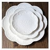 Piatti della cena Set di 3, 9.84in Piatto in ceramica Set per insalata di bistecca PASTA Antipasto Antipasto e dessert Forno a microonde Forno a microonde e lavastoviglie Set di stoviglie sicuro (rosa
