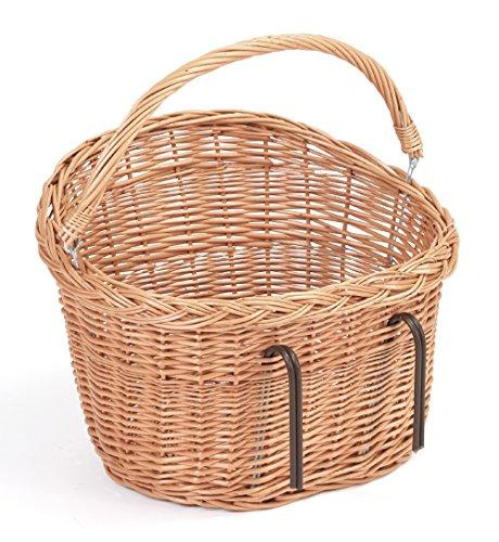 Tigana Fahrradkorb Einkaufskorb mit Tragegriff aus Weide für Lenker (oval 40 cm Natur mit Windschutz)