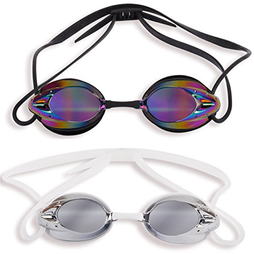 2 Pack: The Friendly Swede Protective Swim Goggles for Adults with Interchangeable Nose Pieces and Protective Cases, Mirrored (Black + White))