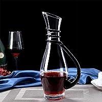 手作りガラスワインデカンター、鉛フリークリスタルガラスワインデカンター、リボンラップワインディスペンサー、使いやすい美しい雰囲気、ワインアクセサリー、クリアワインアクセサリー(カラー:ブラック)