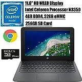 """HP Chromebook 11 2020 Flagship Laptop Computer I 11.6"""" HD WLED Display I Intel Celeron Processor N3350 I 4GB DDR4 32GB eMMC + 256GB SD Card I Webcam WiFi Type C Chrome OS + Delca 16GB Micro SD Card"""