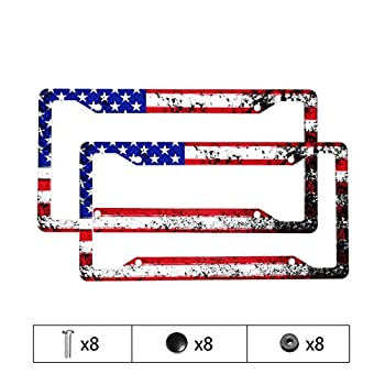 American Flag License Plate Frame - 2 Pack Set Novelty License Plates Patriotic USA License Plate Aluminum Metal License Plate Auto Car Tag with 4 Holes and Screws Size 6.3  X 12.3