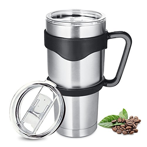 Insulated Tumbler travel Mug Homewill 30oz Vacuum Double Wall Stainless Steel Mug with Handle and Leak Proof Lid for All Hot /Cold Drinks.