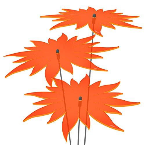 SUNPLAY Sonnenfänger - Sonnenblumen Set - 3x Orange - Ø 20 cm Durchmesser + Schwingstäbe