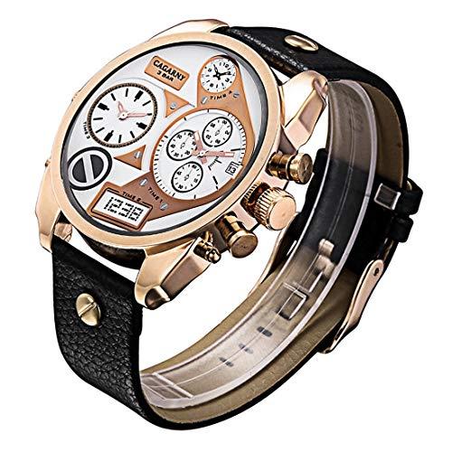 Outdoor Sports Accessories CAGARNY 6822 Estilo conciso de moda Dial grande Reloj doble Caja de oro rosa Reloj de pulsera de movimiento de cuarzo con banda de cuero y GMT Hora y calendario Funciones fo