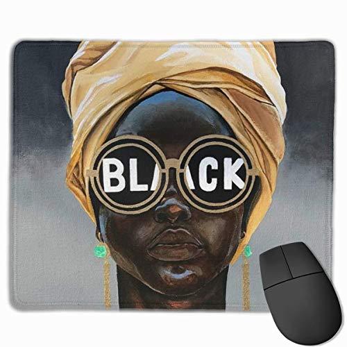 Alfombrilla de ratón para Juegos Mujer Afro Gafas de Sol Negras Alfombrillas de ratón afroamericanas Base de Goma Antideslizante Alfomb