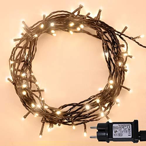 Guirlande Lumineuse 100 LED Blanc Chaud Lumières de Noël extérieure et intérieure avec 8 fonctions de mode Alimentation Secteur avec Longueur éclairée 10m Câble Vert