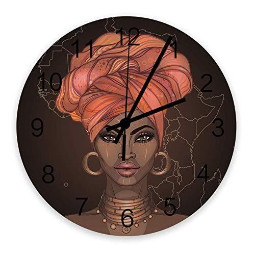 Close-up Mujer Africana con Cabello Rosado Grandes Relojes de Pared Redondos de Madera, línea África Mapa telón de Fondo de Metal Moderno Reloj de Pared silencioso para Oficina, Patio, Sala de Estar,