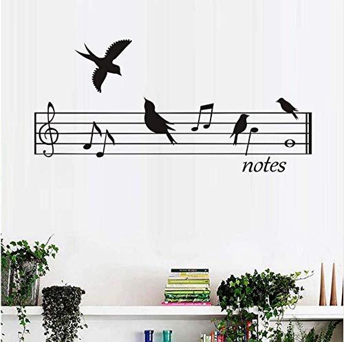 Hoogwaardige vogels muziek notities sticker DIY muurtattoos wooncultuur aankomst PVC muursticker kinderkamer waterdichte lijm 90 * 42 cm