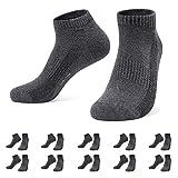 Falechay Calzini Uomo Donna 10 Paia Cotone Sneaker Calze Corti Sportive Grigio scuro 47-50