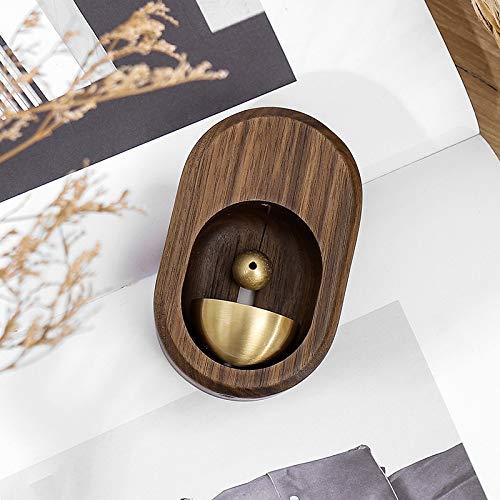 Timbre de viento estilo puerta de succión de madera maciza simple manual de cobre casero regalo de inauguración de la casa campanillas de viento de la suerte (color: nogal negro)