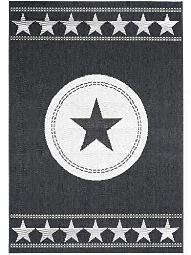 benuta in-& Outdoor Essenza Star Schwarz 120x170 cm | Pflegeleichter Teppich geeignet für Innen Außenbreich, Balkon und Terrasse Tapis, Fibres synthétiques, Noir, 120 x 170 cm