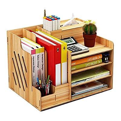 Wooden Desk Organizer, Large Capacity DIY Office Supplies Storage Box File Rack Paper Document Magazine Holder Sorter