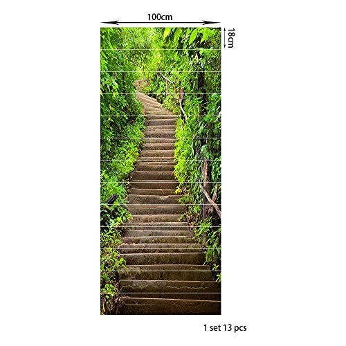 KONGRMB Decoratieve Groene Plant Ladder Pvc3D Zelfklevende 13 Stuks Muurstickers Woonkamer Groene Planten
