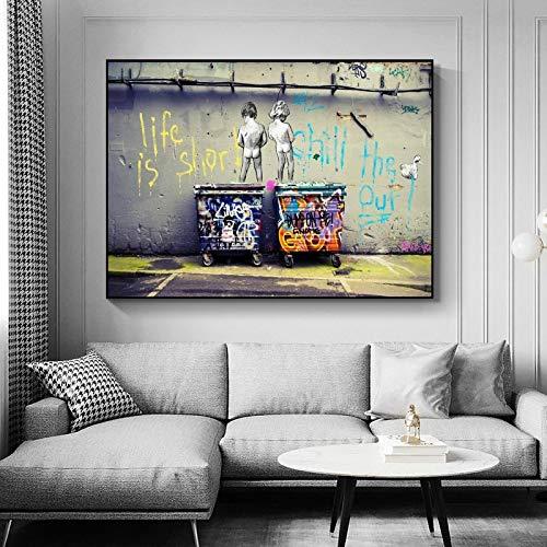 Banksy Graffiti Art Canva Painting Life Is Short Chill The Duck Out Street Art Arte de pared para sala de estar Decoración del hogar 30x54cm Sin marco