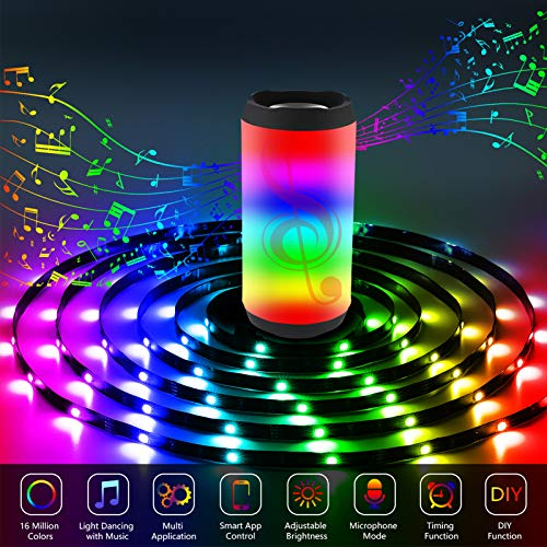 Gusodor Led Strip Lights 65.6 Feet Led Lights Music Sync Smart Rope Lights Color Changing Timing with 24 Key Remote App Control RGB Tape Light DIY Colors Led Lights for Bedroom Home TV Party 7