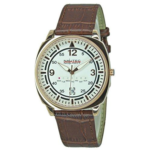Nautec No Limit Unisex Erwachsene Analog Quarz Uhr mit Leder Armband 126388