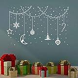 Kreatives Design Weihnachtskugel Wandaufkleber Urlaub Vinyl abnehmbare Haustür und Fenster dekorative Kunst Wandtattoo 87x56cm