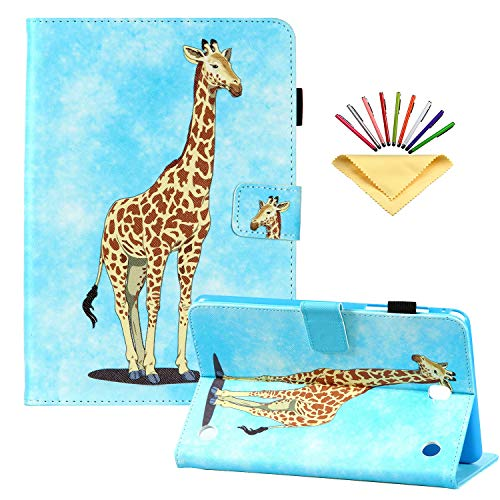 Uliking for Samsung Galaxy Tab A 8.0 inch (2015) Case SM-T350/T355/P350/P355 with Pencil Holder Multi-Angle Smart Stand PU Leather Shockproof TPU Folio Magnetic Cover [Auto Wake/Sleep], Giraffe Sky