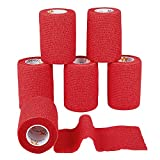 6 Stück Pflasterverband Kohesive Selbsthaftende Bandagen In ROT elastischer Fixierverband 7,5 CM Breite 4,5 METER Länge Für Arme, Beine Von AMATHINGS -