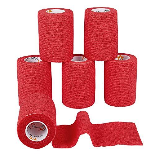 6 Stück Pflasterverband Kohesive Selbsthaftende Bandagen In ROT elastischer Fixierverband 7,5 CM Breite 4,5 METER Länge Für Arme, Beine Von AMATHINGS