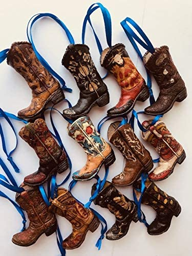 BigTexas 12 送料無料 一部地域を除く Assorted Multi-Colored 特売 Western Boot Christmas Cowboy