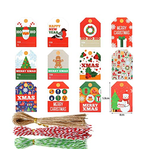 NA. Shaoyanger 144pcs Christmas Paper Tags DIY Handmade Crafts with Rope Food Packaging Labels Gift Wrapping Wedding Party Favor