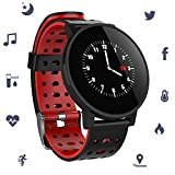 Smart Watch IP67 Waterproof Activity Fitness Tracker Heart Rate Blood Oxygen Blood Pressure Clock Men Women Smart Wristbands (Red)