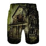 Pantalones Cortos De Playa para Hombres,Casa de Terror Edificio ruinoso nostálgico Tema de suspenso ...