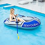 Inflatable kayak set fishing boat drifting diving rowing air boat with oars for kids adults 13 the inflatable boat can hold up to 90kg/198lb, suitable for 1-2 person, the float pool boat is made of thick pvc material, skin-friendly and durable the touring kayaks set package with paddles and a simple air pump(not electric), comfortable for you to sit inflatable dinghy boat is made of premium pvc material, which is stable and pressure resistance. The inflatable boat can be folded, easy to carry and storage
